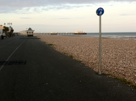 Worthing Promenade looking toward Brighton. Now a shared use path and part of NCN2.